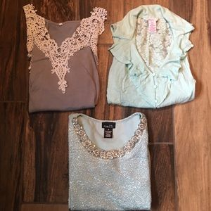 Bundle 3 Cute Girl Tops size small